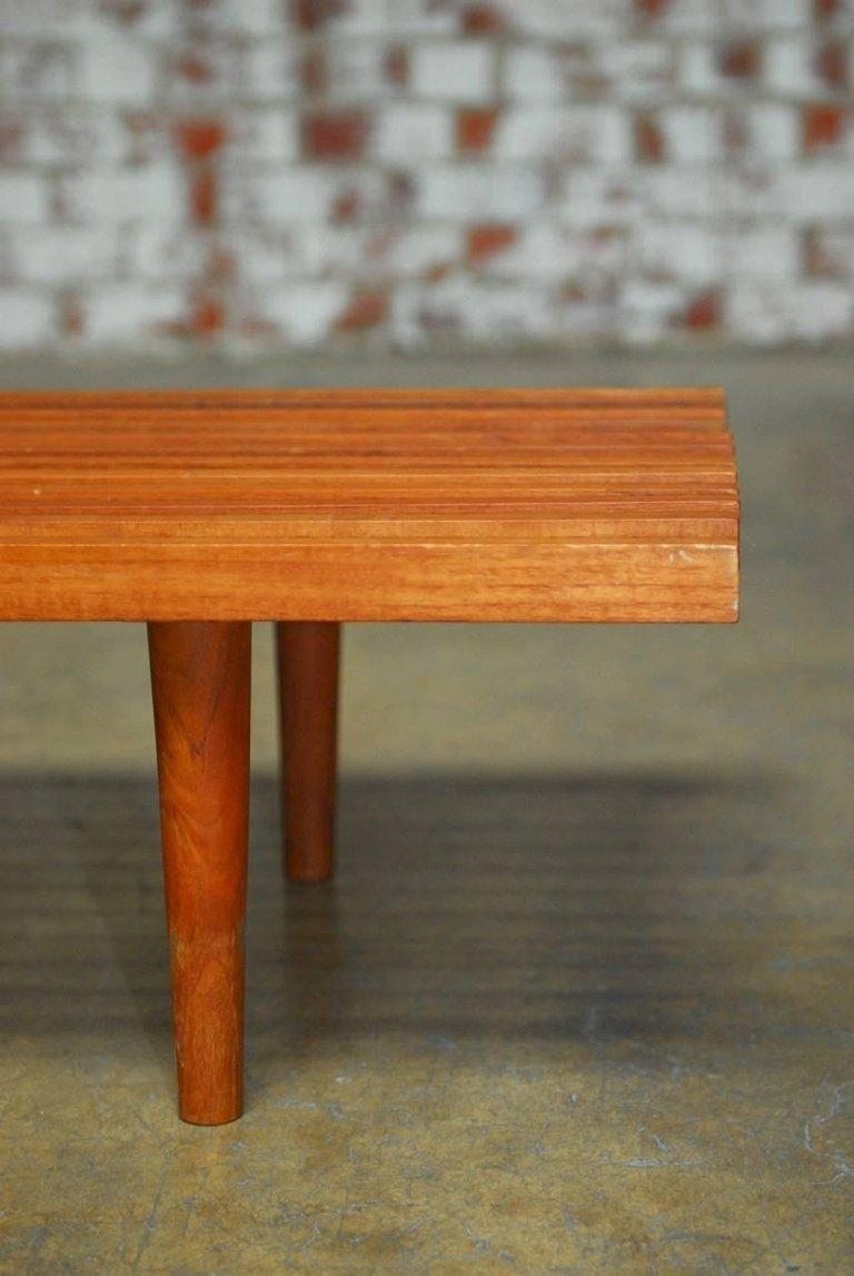 Mid Century Modern Low Slat Wood Bench Coffee Table   Image 6 Of 9