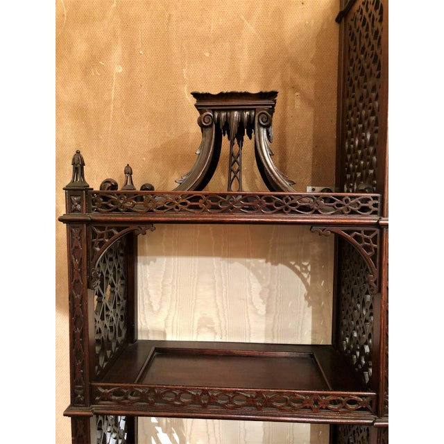 Asian Antique 19th Century English Chippendale Mahogany Display Cabinet With Chinoiserie Fretwork, Circa 1850-1880. For Sale - Image 3 of 4