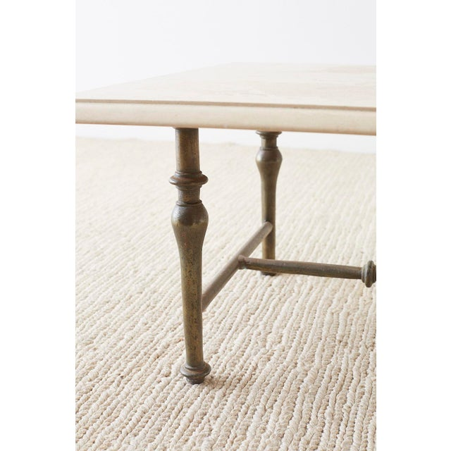 Italian Hollywood Regency Marble-Top Brass Cocktail Table For Sale - Image 11 of 13