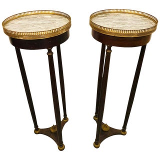 Pair of Mahogany Empire Marble-Top Pedestals For Sale