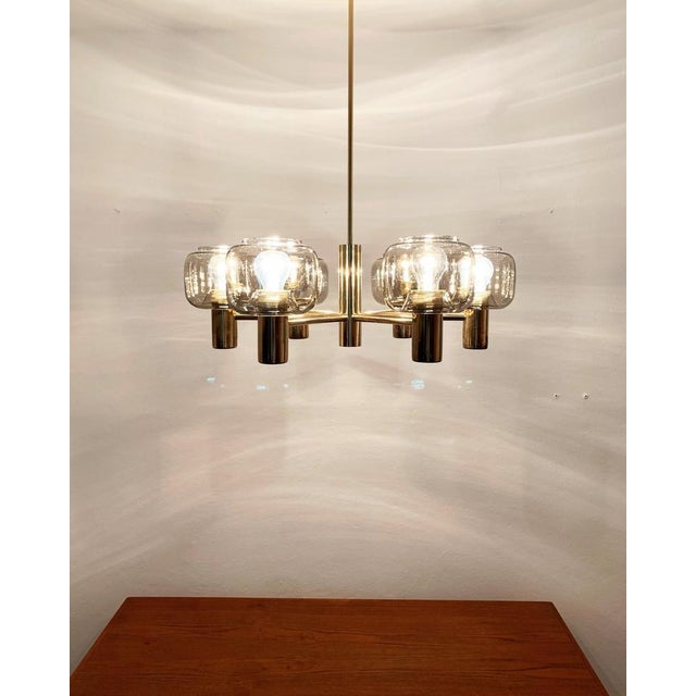 1960s Mid-Century Modern Brass and Smoked Glass Chandelier For Sale - Image 5 of 7