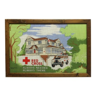 """Red Cross - Always Needed - Always There"" Washington DC Original Textile Art, Framed For Sale"