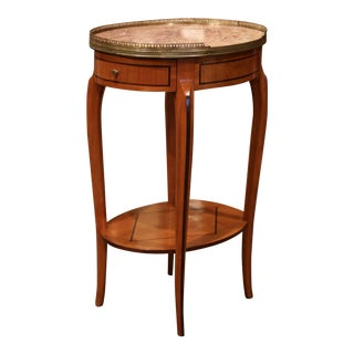 Mid-20th Century French Cherry Side Table With Marble Top and Brass Rim For Sale