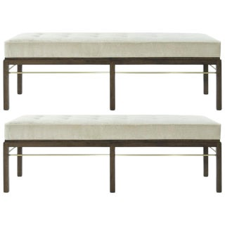 Set of Edward Wormley for Dunbar Brass Stretcher Benches, 1950s For Sale