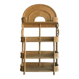 1970s Boho Chic Pencil Reed Rattan Wrapped Bookcase For Sale