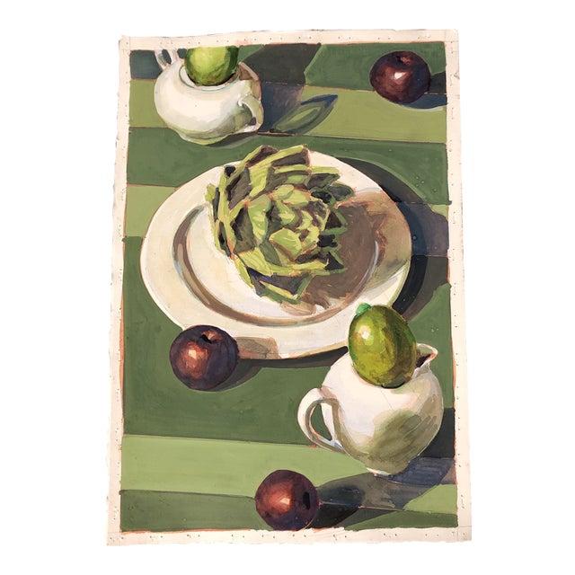 Vintage Original Gouache Still Life Painting With Artichoke & Fruit For Sale