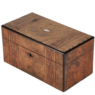 1880s English Tunbridge Inlaid Walnut Tea Caddy Box For Sale