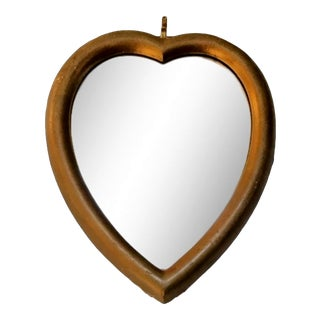 Vintage Italian Hand Carved Gilded Wood Heart Accent Wall Mirror For Sale