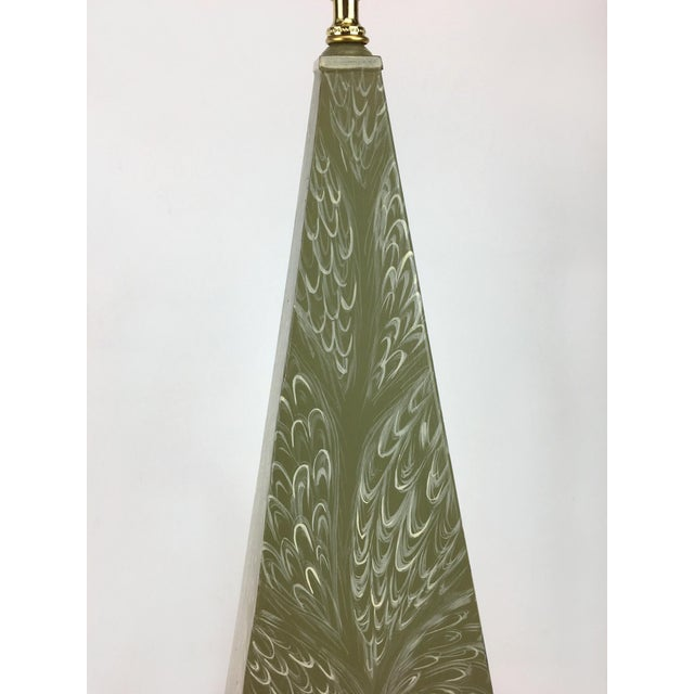 Hand painted obelisk lamp with peacock feathering finish. Beautiful shade of leaf green, in a modern obelisk shape.