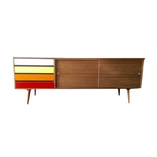 Mid-Century Style Custom Walnut Credenza For Sale