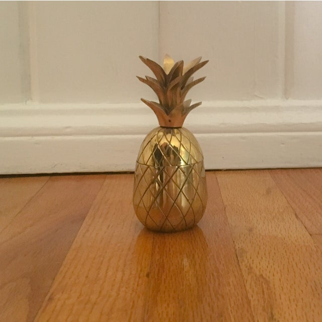"""Petite 4.5"""" Brass Pineapple Container - Image 2 of 7"""