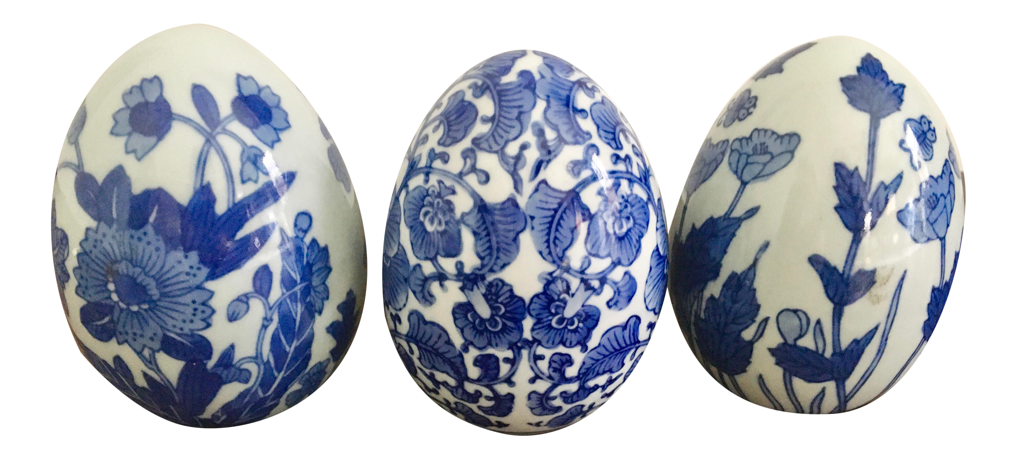 blue and white Easter egg Hand painted chinoiserie large Easter eggs Easter decor blue and white Easter