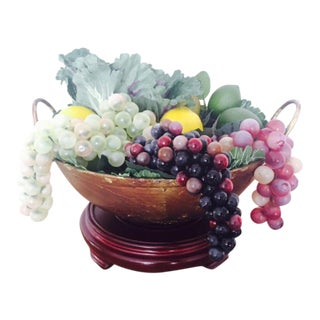 Copper Gilded Iron Wok Artificial Fruit Bowl