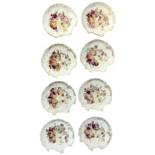 Eight Royal Worcester Aesthetic Cabinet Plates With Spider Web Decoration For Sale