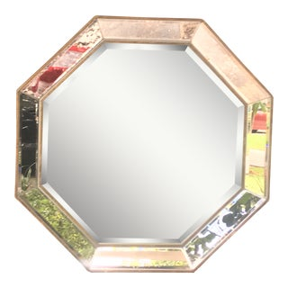 Modern Gold Geometric Octagon Beveled Antiqued Wall Mirror For Sale
