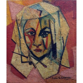 """The Nun"" Encaustic Painting by African-American Artist Leon Lank Leonard For Sale"