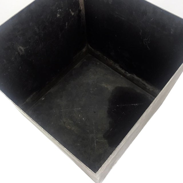 Cubism Vintage Cube Architectural Supplements Distressed Steel Planter For Sale - Image 3 of 6
