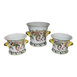 Floral Crackle Glaze Ceramic Cachepots- Set of 3