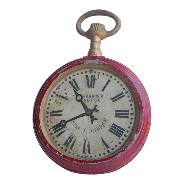 Antique French Double Sided Pocket Watch Trade Sign For Sale - Image 4 of 4