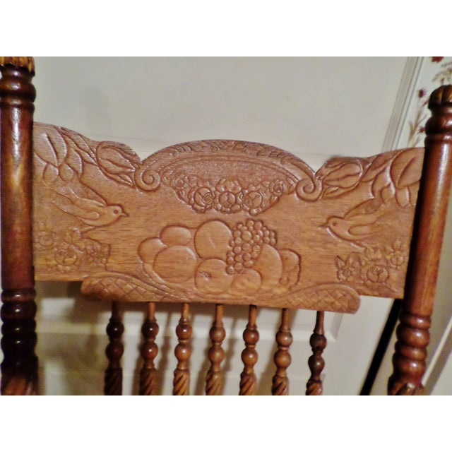 Late 20th Century Antique Golden Oak Rocking Chair For Sale - Image 6 of 13