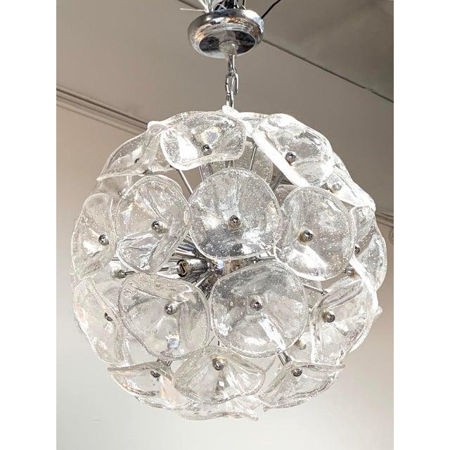 "20"" Fiori Murano Glass Pendant Orb Ceiling Light For Sale - Image 9 of 11"