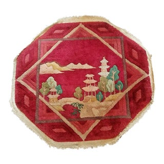 Art Deco Helen Fette Oriental Table Rug Red For Sale