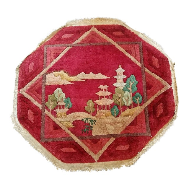 Art Deco Helen Fette Oriental Table Rug Red For Sale
