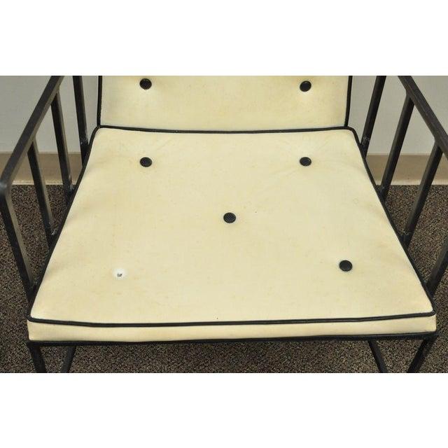 Vintage Mid Century Modern Wrought Iron Arthur Umanoff Paul McCobb Arm Chair For Sale - Image 10 of 11