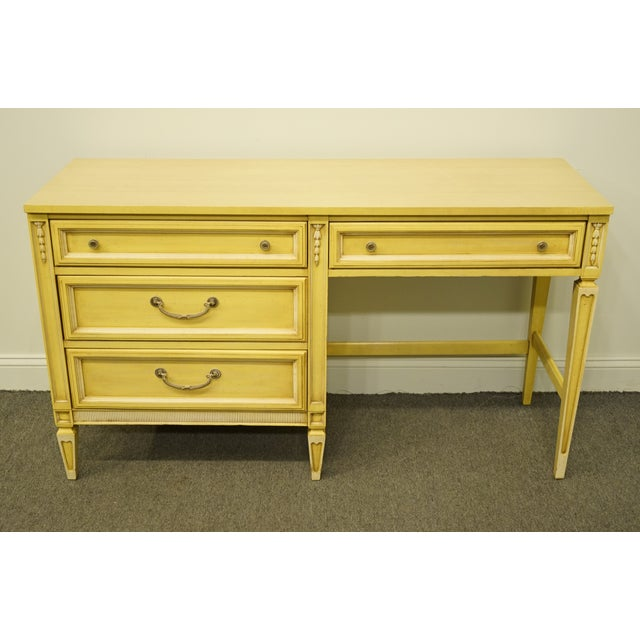 French Provincial 20th Century French Provincial Basic Witz Furniture Painted Cream Writing Desk For Sale - Image 3 of 13
