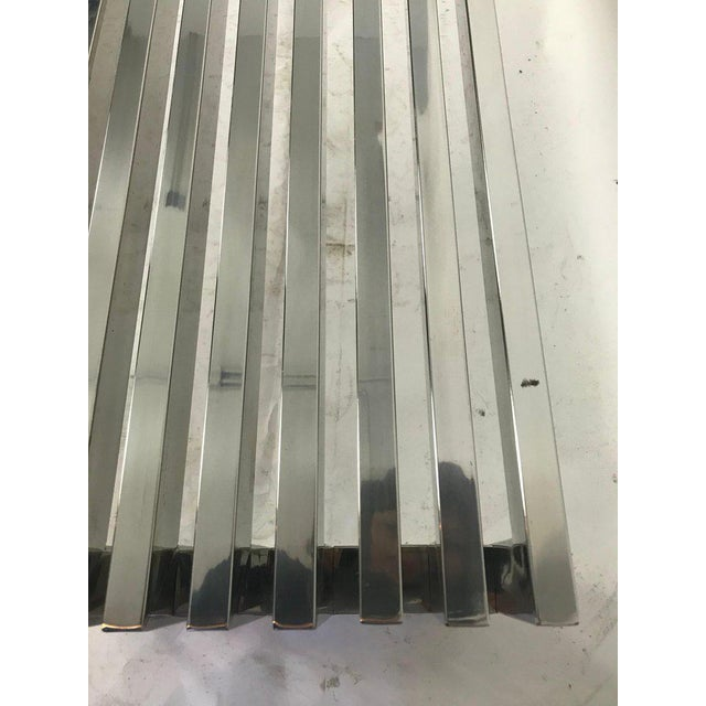 Metal 1970s Vintage Chrome Slat Bench / Coffee Table For Sale - Image 7 of 8