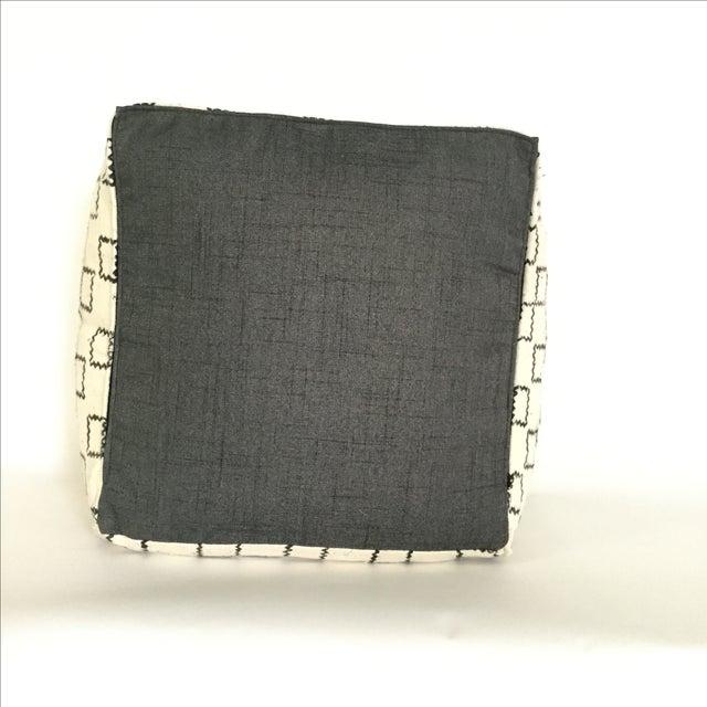 Block Printed Mud Cloth Ivory Pouf - Image 3 of 4