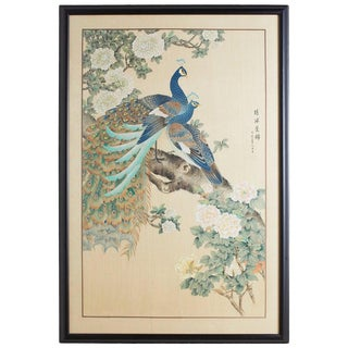 Japanese Spring Peacocks Painting on Silk For Sale