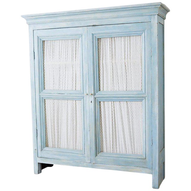 Country French Provincial Painted Armoire Cabinet For Sale