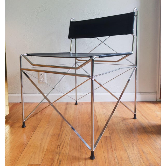 Mid Century Modernist Italian Chrome X Base Lounge Chair For Sale In Portland, OR - Image 6 of 6