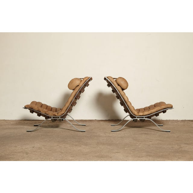 Animal Skin Pair of Arne Norell Ari Chairs, Norell Mobler, Sweden, 1970s For Sale - Image 7 of 13