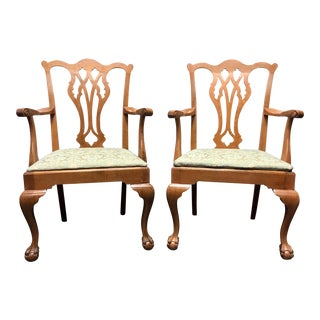 Vintage Quartersawn Tiger Oak Chippendale Ball in Claw Arm Chairs - A Pair