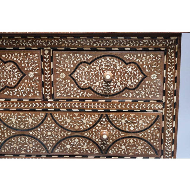 Teak Wood and Bone Inlay Chest of Drawers For Sale - Image 4 of 7