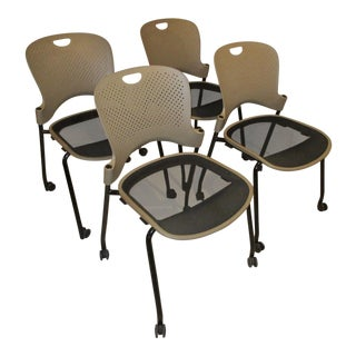 Modern Herman Miller Jeff Weber Design Portable & Stackable Chairs- Set of 4 For Sale