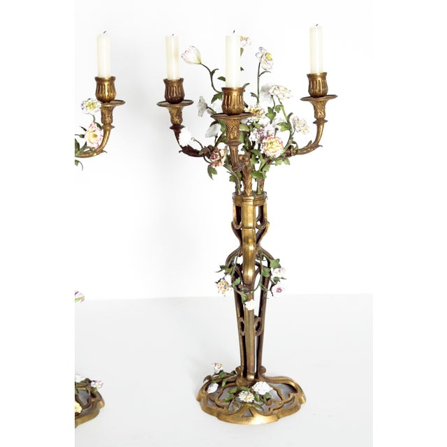 Belle Epoque Late 19th Century Pair of French Belle Epoque Gilt Bronze Porcelain Candelabra For Sale - Image 3 of 13