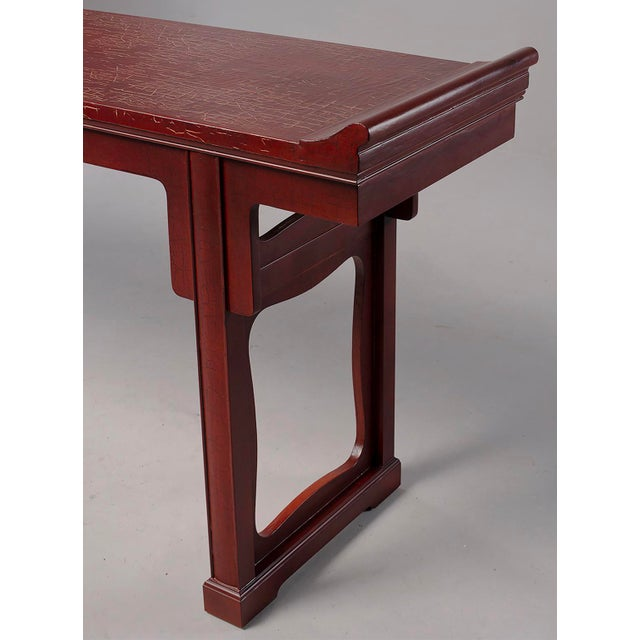 Baker Furniture Red Chinese Style Altar Console Table