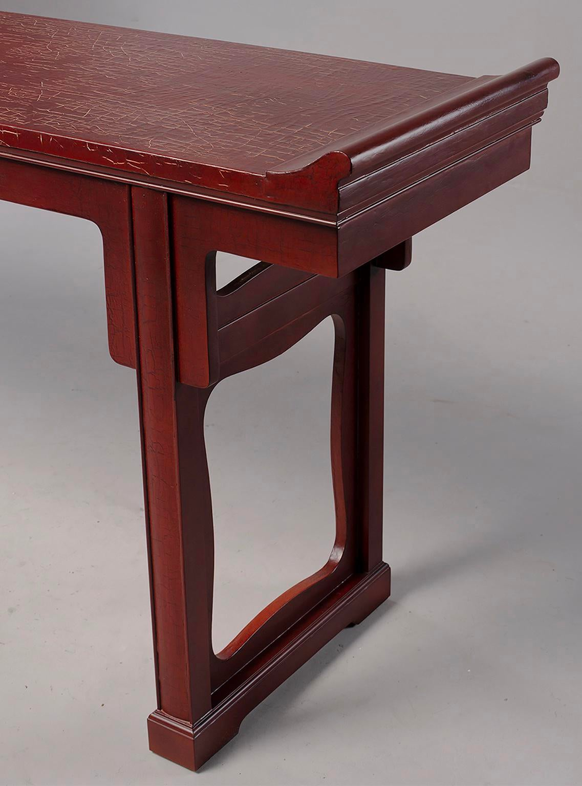 Baker Furniture Company Baker Furniture Red Chinese Style Altar Console  Table For Sale   Image 4