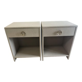 Burlap Wrapped Nightstands - A Pair