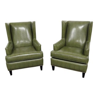 Pair Kellex Seating Modern Wingback Chairs For Sale