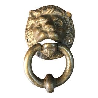 Antique Solid Brass Lions Head Door Knocker For Sale