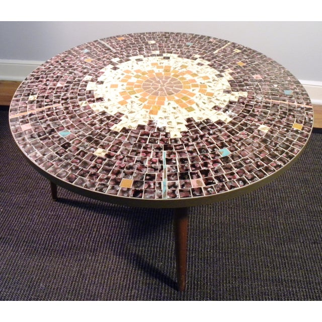 Vintage Mid Century Mosaic Coffee Cocktail Accent Table - Image 6 of 7