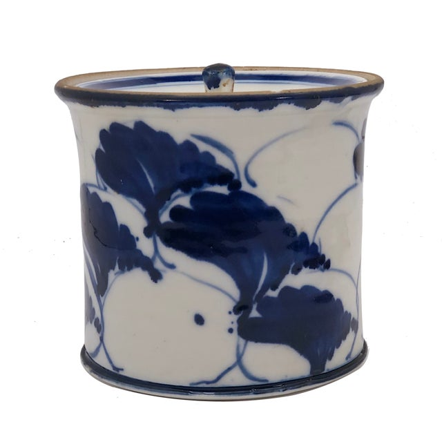 Blue and White Lidded Porcelain Mizusashi With Handpainted Ginko Leaf Design For Sale - Image 13 of 13