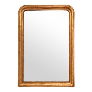 Mid-19th Century French Louis Philippe Gilt Wood Mirror With Engraved Decor For Sale