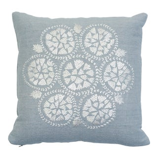 Schumacher Isla Hand Embroidery Pillow in Sky For Sale