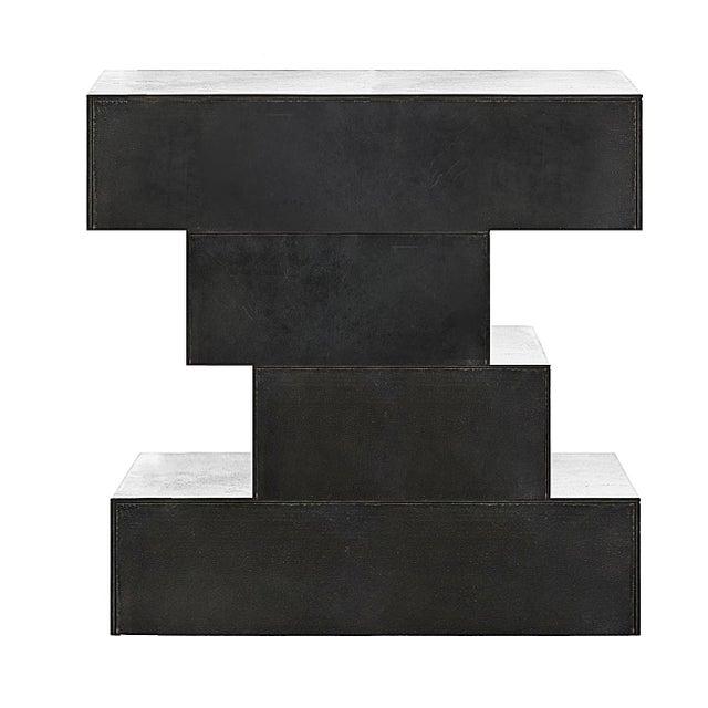 Nightstand - Solid Blackened Steel For Sale - Image 4 of 4