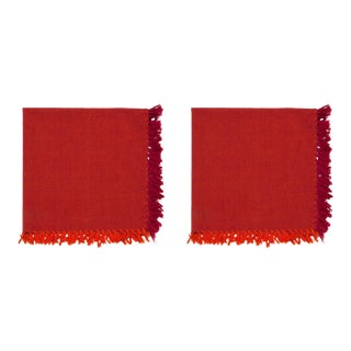 Two -Tone Napkins, Red & Orange - A Pair For Sale